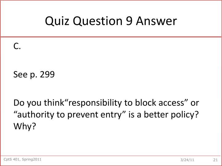 Quiz Question 9 Answer