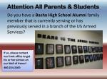 attention all parents students