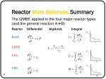 reactor mole balances summary