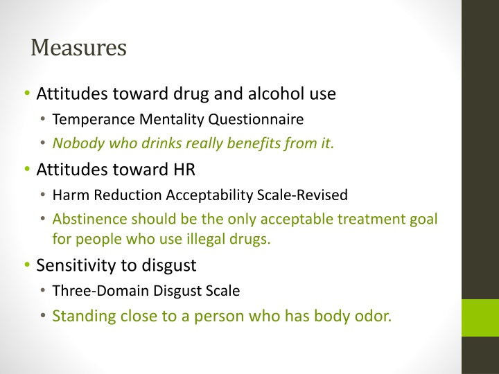 PPT - Drugs are Disgusting! Moral Decision Making and Attitudes