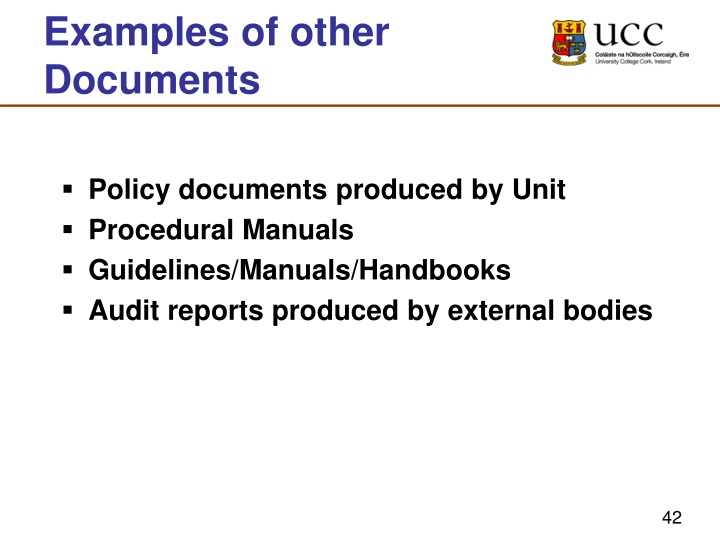 Examples of other Documents