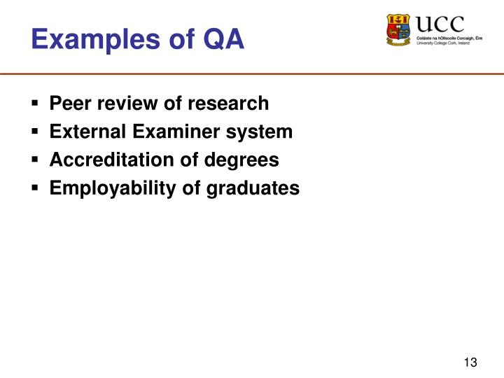 Examples of QA