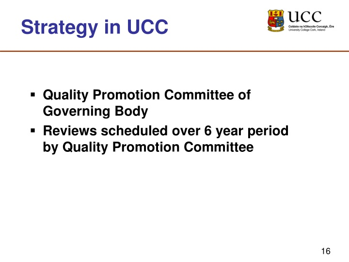 Strategy in UCC