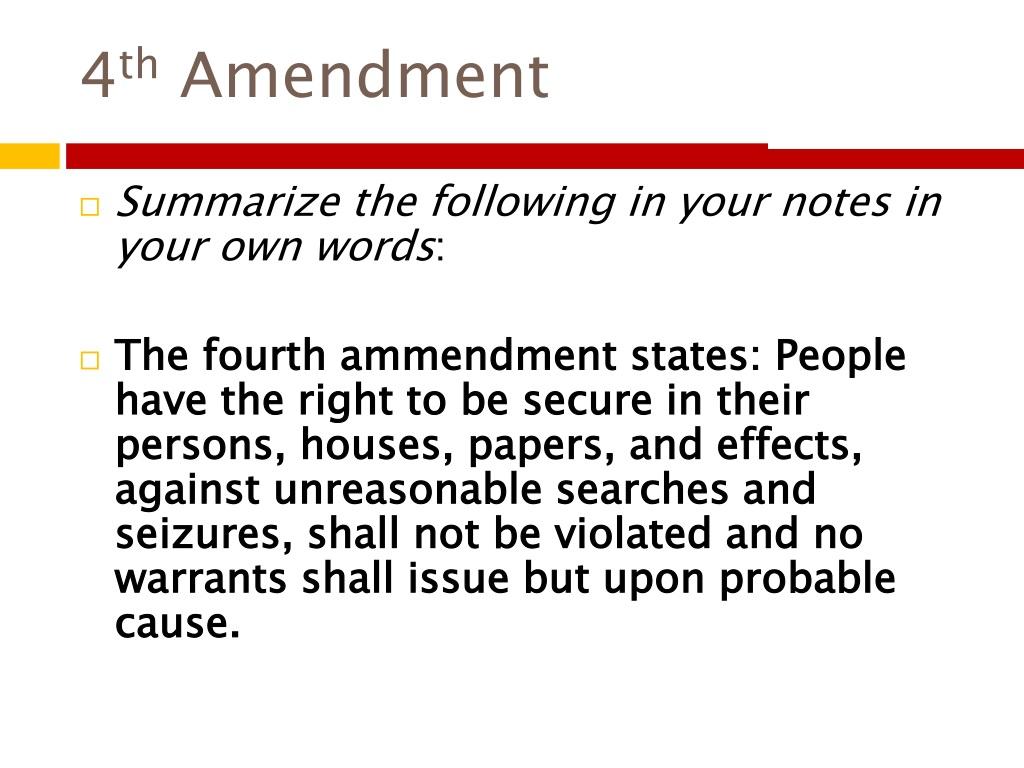 4 Th Amendment Powerpoint Ppt Presentation