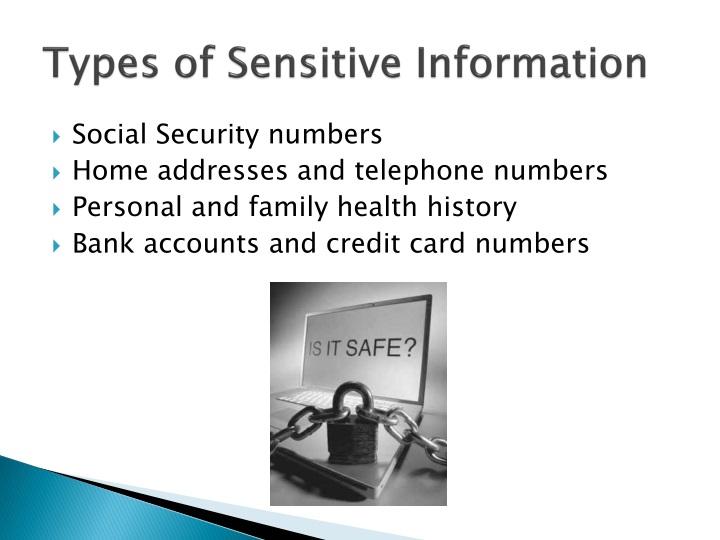 Types of Sensitive Information