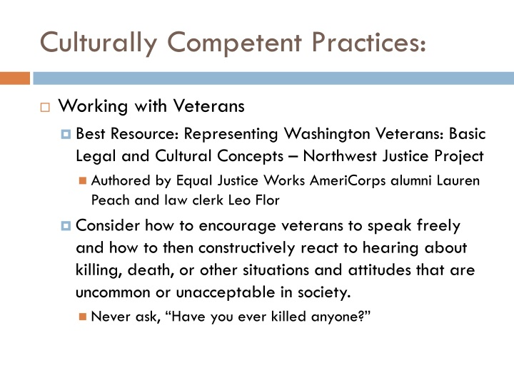Culturally Competent Practices: