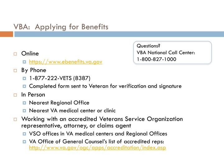 VBA:  Applying for Benefits