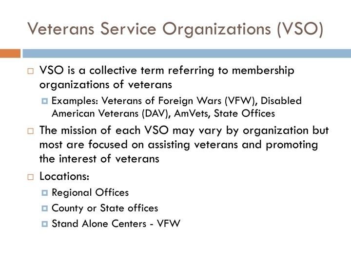 Veterans Service Organizations (VSO)