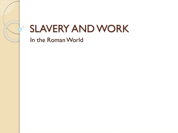 Slavery and work