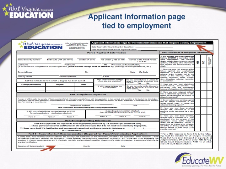 Applicant Information page