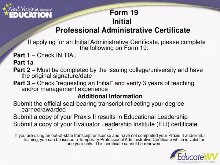 Form 19