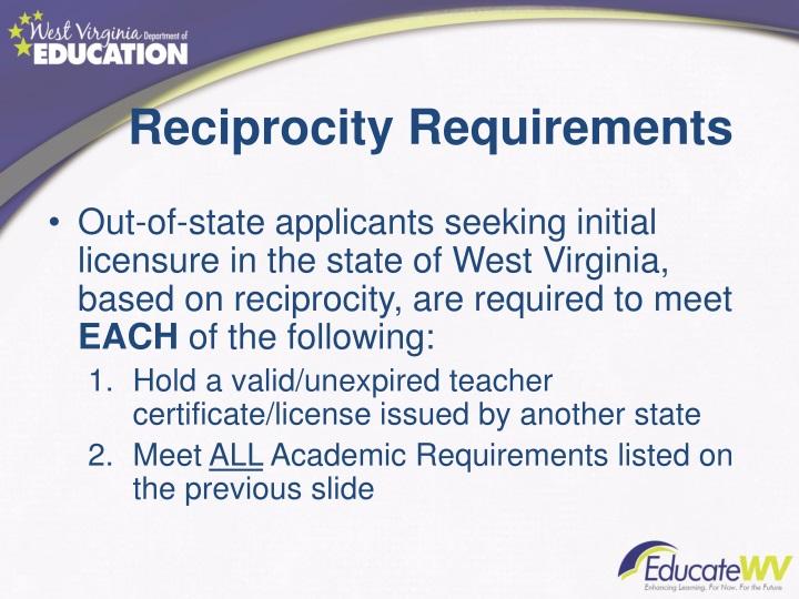 Reciprocity Requirements
