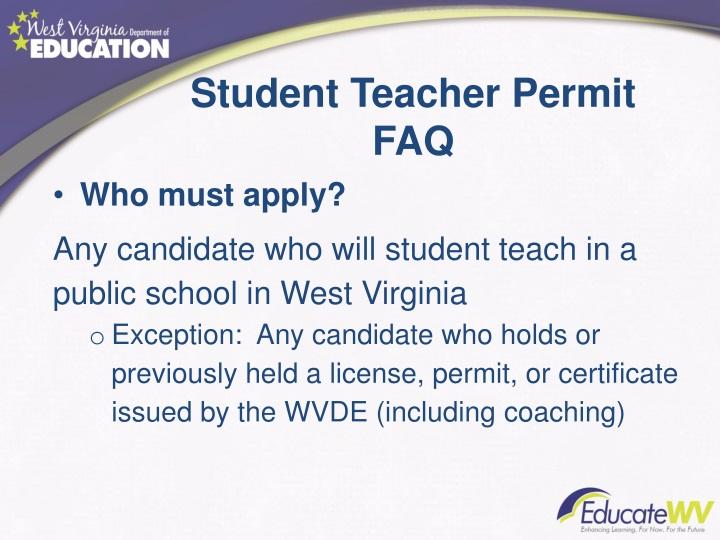 Student Teacher Permit