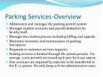 parking services overview