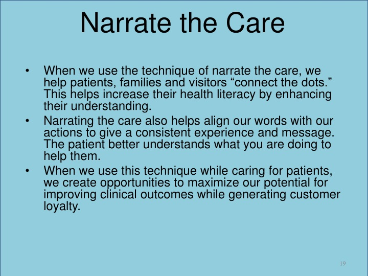 Narrate the Care