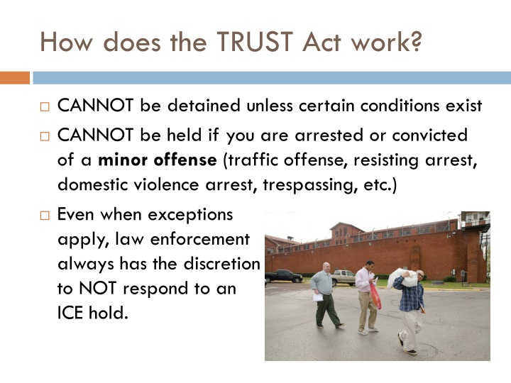 How does the TRUST Act work?