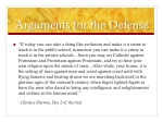 arguments for the defense
