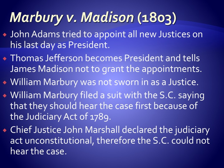 marbury v madison 5 u s 1 cranch 137 1803 Marbury v madison 5 us 137, 2 l ed 60, 1803 us lexis 352, 1 cranch 137 supreme court of the united states issue one: does the us supreme court have the authority to review acts of congress to determine constitutionality.