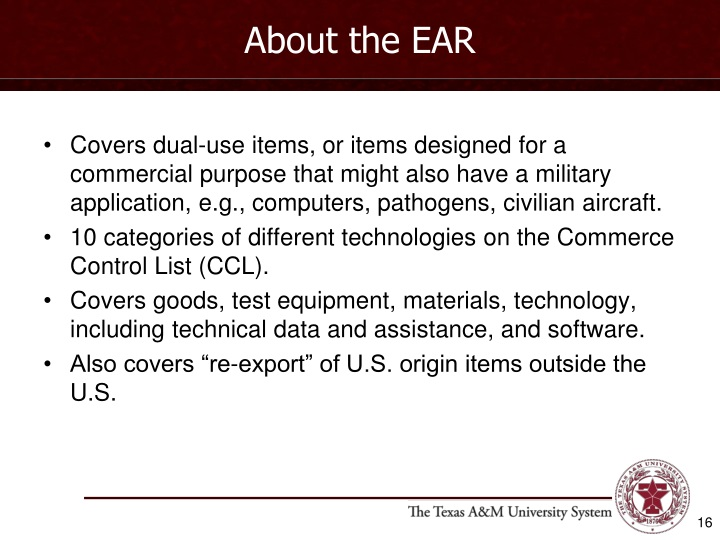 About the EAR