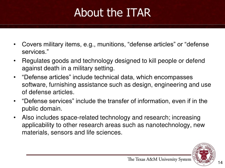 About the ITAR