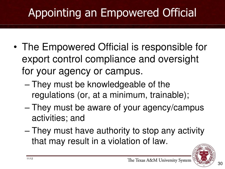 Appointing an Empowered Official
