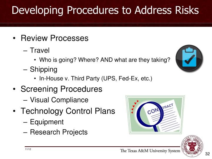 Developing Procedures to Address Risks