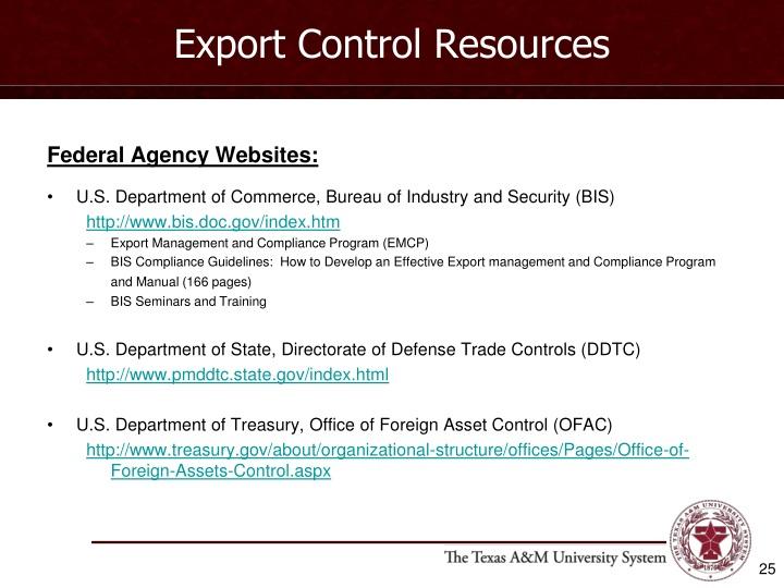 Export Control Resources