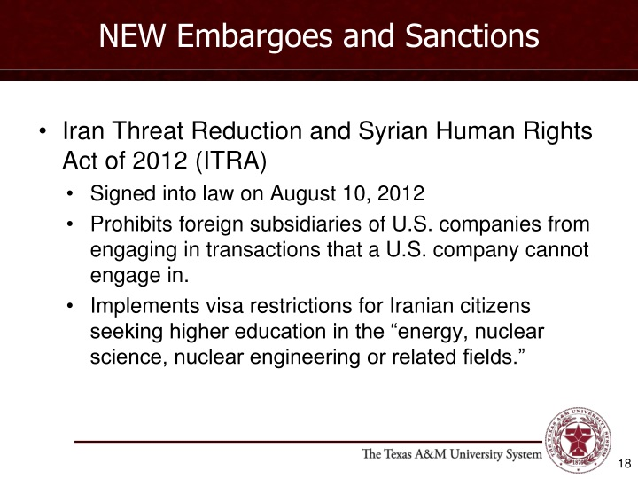 NEW Embargoes and Sanctions