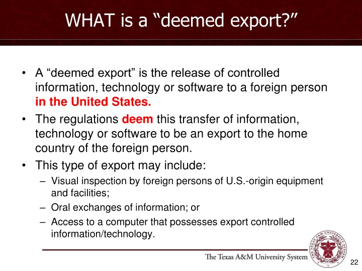 """WHAT is a """"deemed export?"""""""