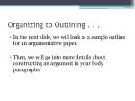 organizing to outlining