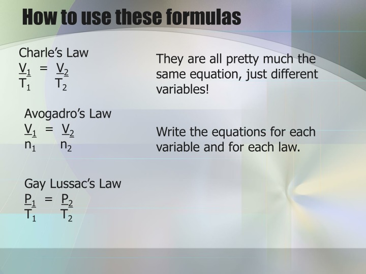How to use these formulas