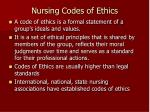 nursing codes of ethics