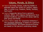values morals ethics