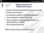 typical structure of a mathematics lesson