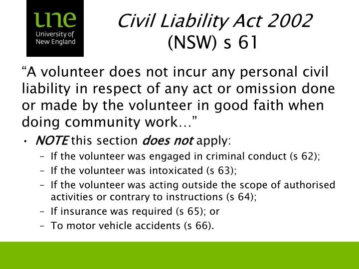 Civil Liability Act 2002