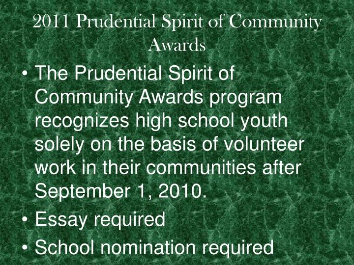 2011 Prudential Spirit of Community Awards