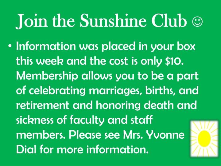 Join the Sunshine Club