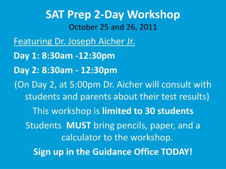 SAT Prep 2-Day Workshop