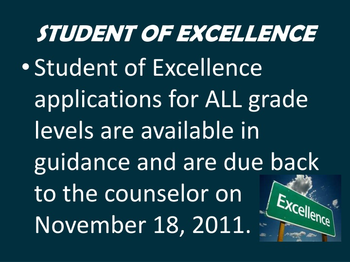 STUDENT OF EXCELLENCE