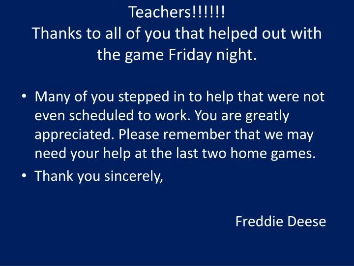 Teachers!!!!!!