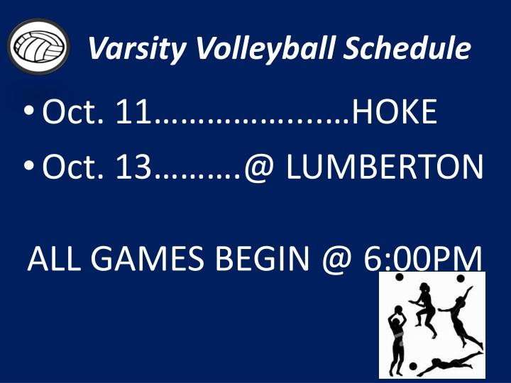Varsity Volleyball Schedule