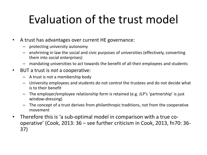 Evaluation of the trust model