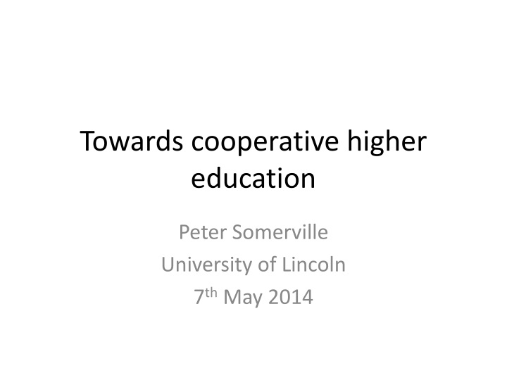 towards cooperative higher education n.