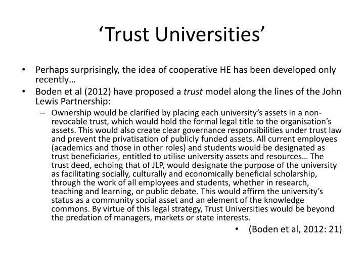 'Trust Universities'