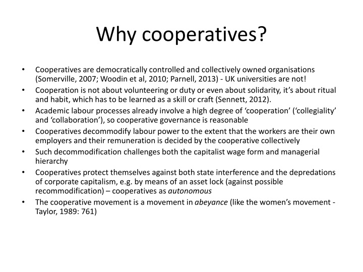 Why cooperatives?
