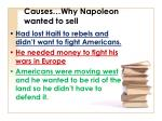 causes why napoleon wanted to sell
