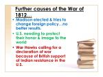 further causes of the war of 1812
