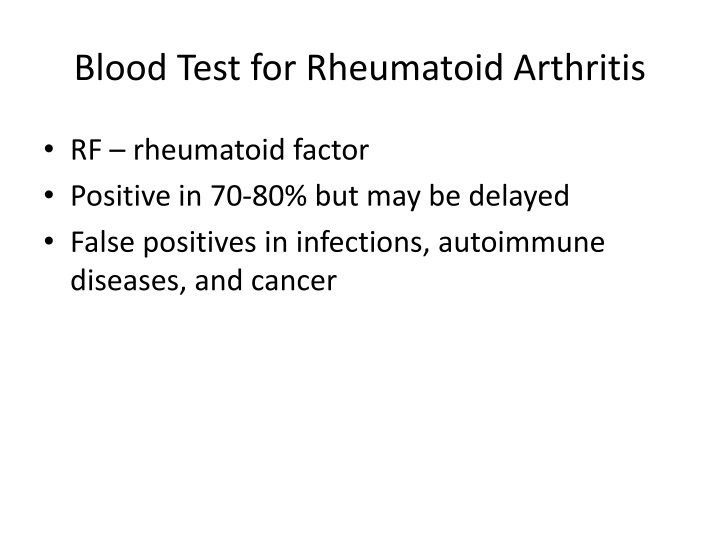 Blood Test for Rheumatoid Arthritis