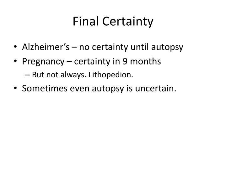 Final Certainty