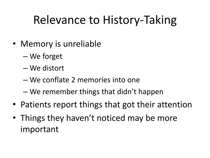 Relevance to History-Taking